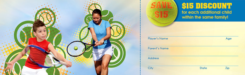 Close-up of brochure design showing custom graphics with tennis players superimposed on illustrated tennis ball burst graphics
