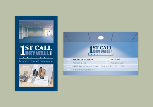 1st Call Drywall Logo Design and Business Card Design