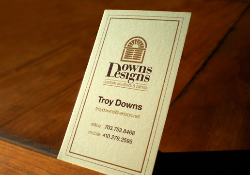 Downs Designs Raised Ink Business Cards, Thermography Business Cards