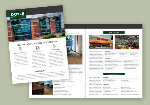 Doyle Construction 4-Page Brochure; 17x11 inch brochure folded in half to 8.5 x 11