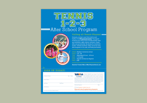 TopNotch Tennis 8.5 x 11 inch 1-sided flyer; Emailable Flyer