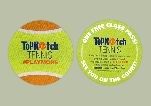 TopNotch Tennis Promotional Piece; Die-cut circle card